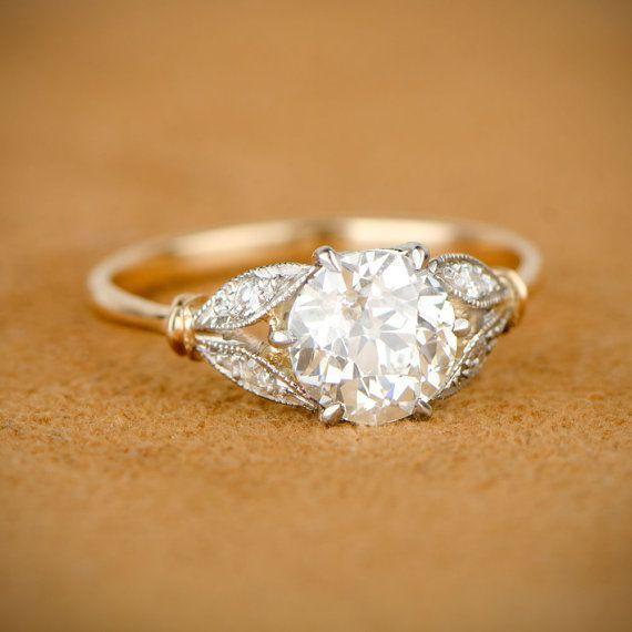 Edwardian Style Engagement Ring. Old European Cut Diamond. Platinum on Gold Mounting.