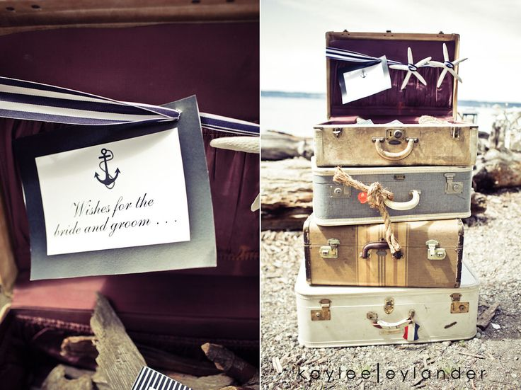 l want to stack these suit cases in the corner of my living room:) Vintage Nautical Beach Wedding | Stylized Shoot