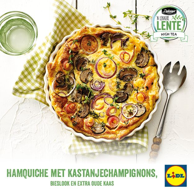 Recept voor hamquiche met kastanjechampignons, bieslook en extra oude kaas #Lente bij #Lidl #Quiche