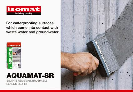 For waterproofing wastewater treatment plants, water tanks and channels, dams and sluices, choose the new, brushable sealing slurry AQUAMAT-SR by ISOMAT!