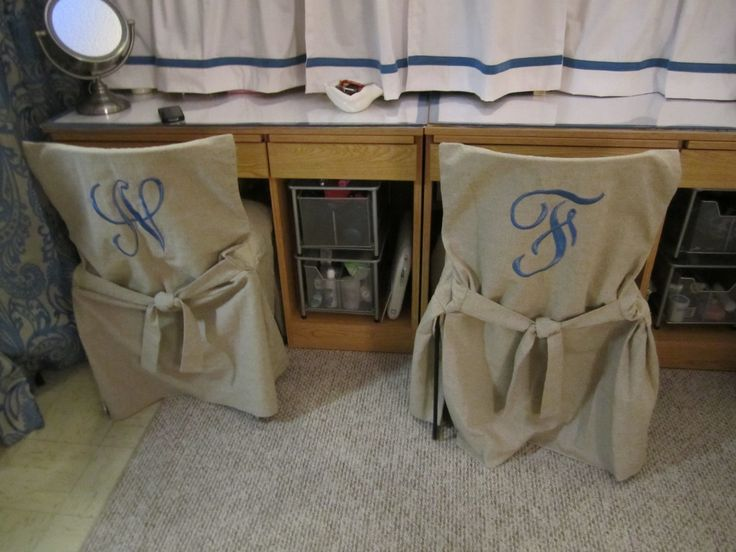 Cheap Chairs for studying with super cute monogrammed covers!