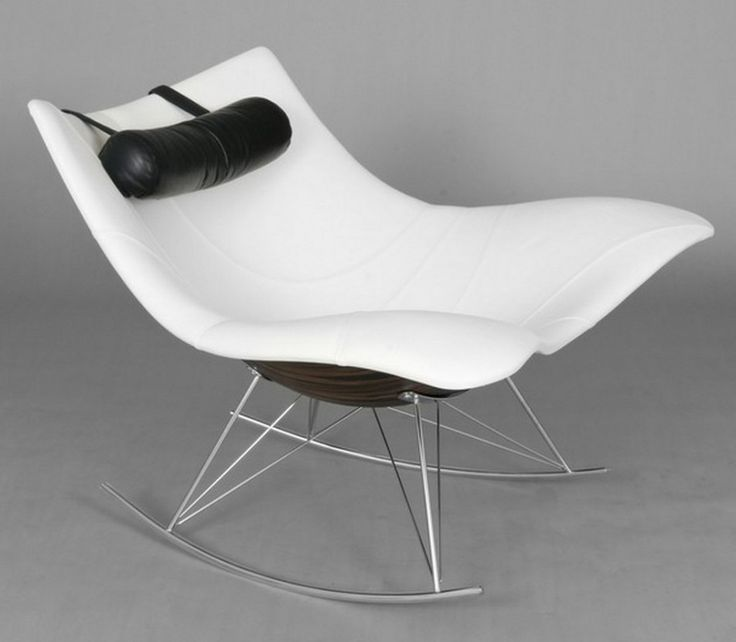 Furniture Comfortable and Charming Modern Rocking Chair: Attractive White Stringray Modern Rocking Chair Designed By Thomas Pedersen