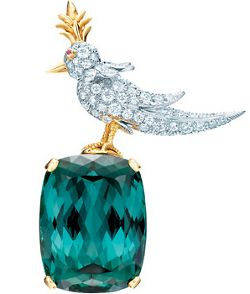 Bird on a Rock brooch setting, with an 86.60-carat green tourmaline and diamonds in platinum and 18-carat gold.A Mini-Saia Jeans, Schlumberger Pour, Jeans Schlumberger, Rocks Stars, Rocks Brooches, Jewelry, Of Jeans, Birds, Pour Tiffany