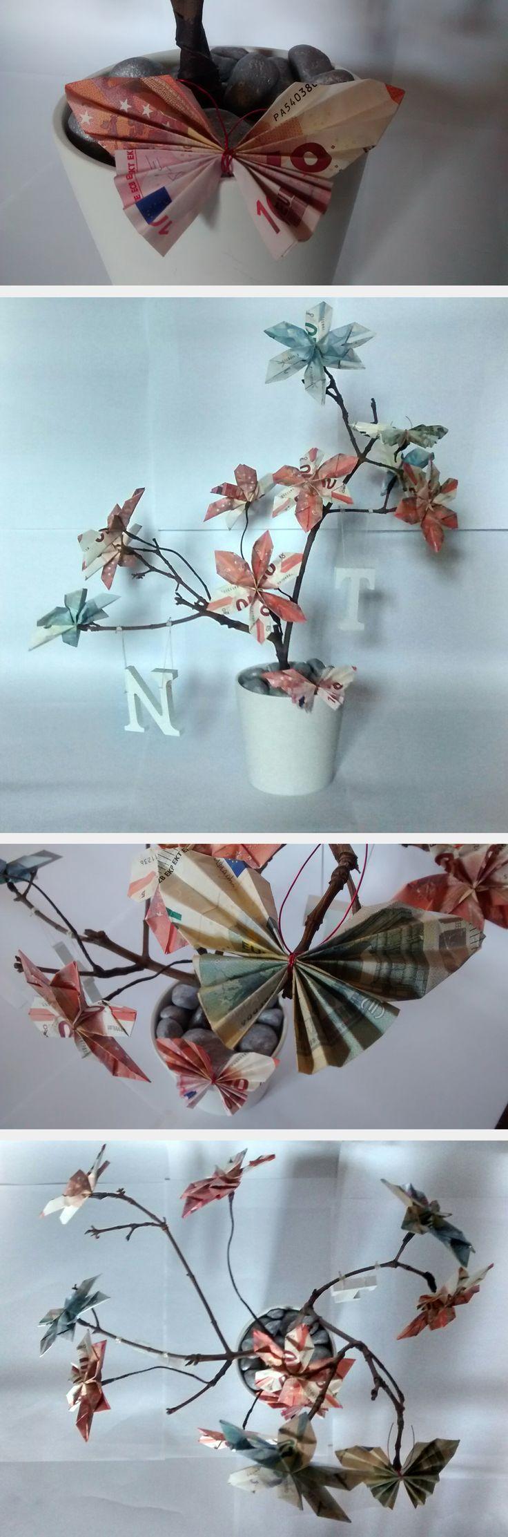 #Marta RC #Bonsai dinero #Diseño #Design #Regalo boda #Manualidades #Original #flores #mariposas #árbol