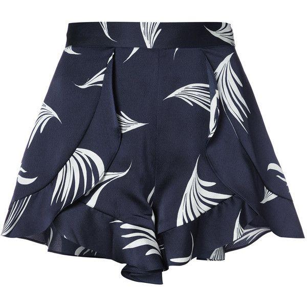 C/Meo wing print shorts ($195) ❤ liked on Polyvore featuring shorts, blue, blue shorts, patterned shorts, print shorts and silk shorts