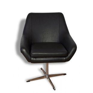 Fauteuil coque thermomoulé 1960 simili cuir noir, fauteuil,coque,skai,pivotant,simili,cuir,noir,1960,1970,coussin,iconique,eames