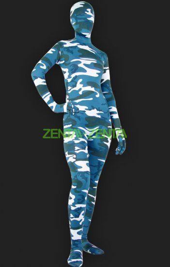 Zentai-zentai.com - Camouflage Unisex Lycra Spandex Full-body Zentai Suit(Blue)
