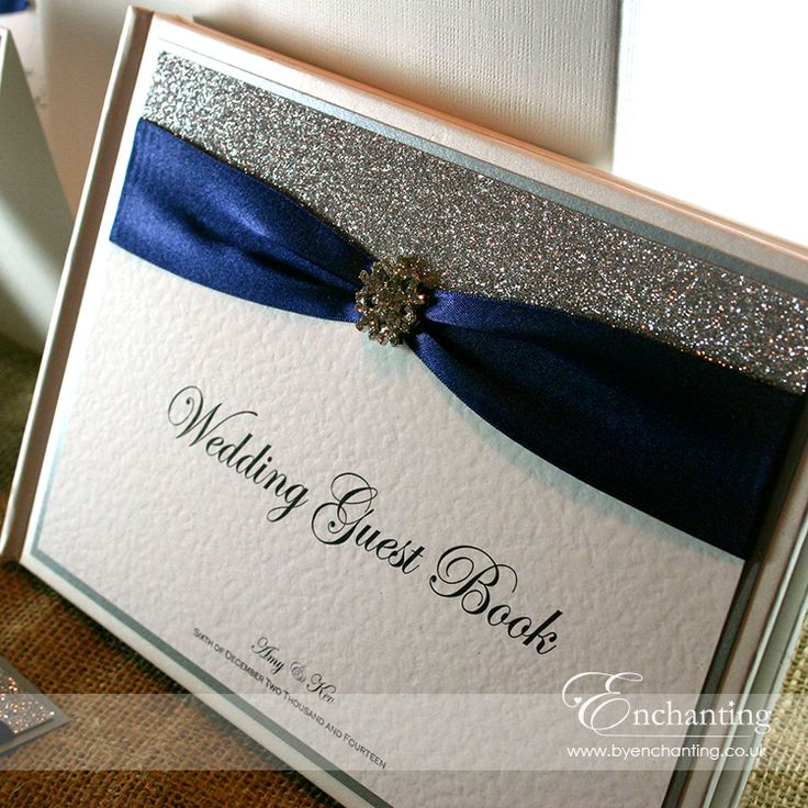 Navy & Silver Winter Wedding Stationery | The Cinderella Collection - Guest Book | Featuring silver glitter, navy ribbon and diamanté snowflake embellishment | Luxury handmade wedding invitations and stationery #byenchanting