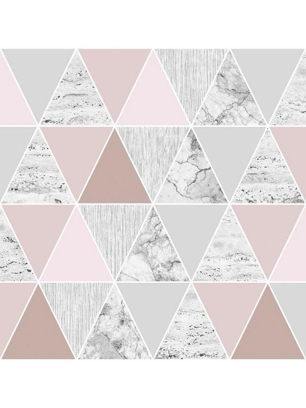Graham & Brown Reflections Rose Gold Wallpaper - 10 metre roll A stunning new wallpaper from Graham & Brown, this captivating design helps you achieve the sought-after geometric look in any room. The triangle print sees soft grey panels interspersed with pastel pinks, while rose gold sections catch the light beautifully and create a fabulous shimmer in your home. This unique look makes it perfect as part of a feature wall, with plain walls either side to really bring out the unique de...