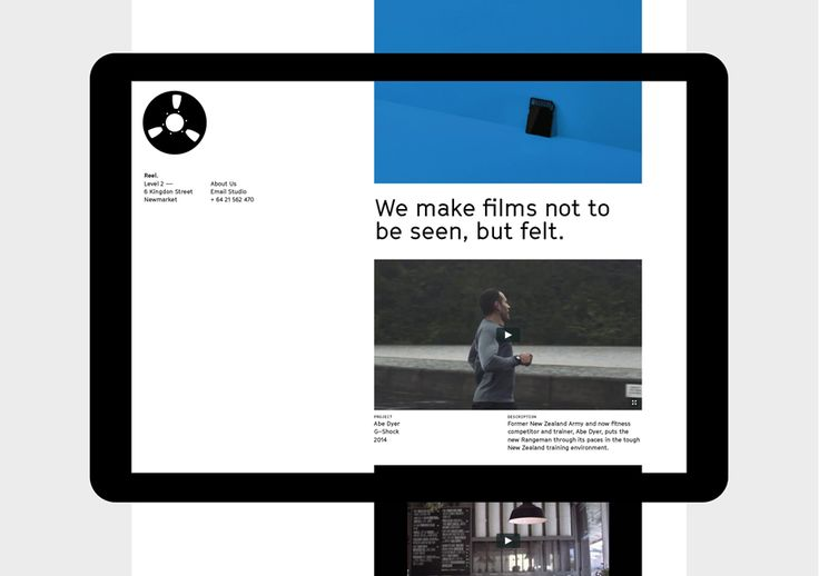 Website for digital production business Reel by Richards Partners