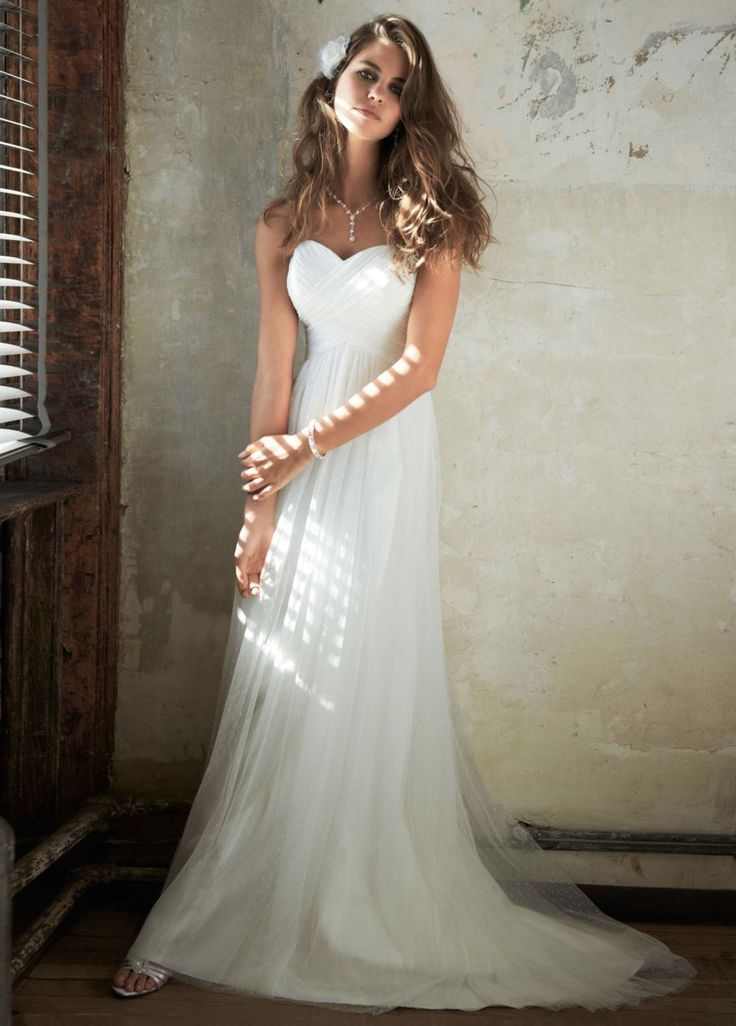 Swiss Dot Tulle Empire Waist Soft Wedding Gown - David's Bridal - mobile from David's Bridal