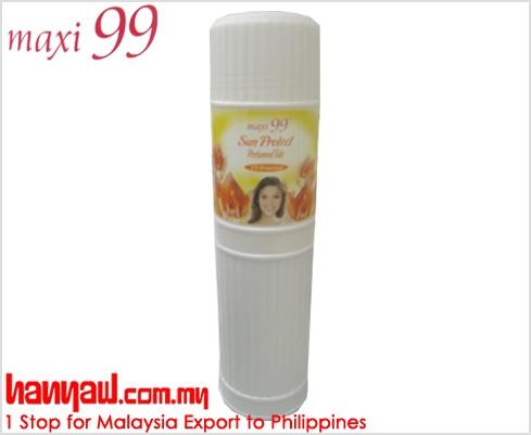 Visit- http://www.hanyaw.com.my/Products/Maxi_99_Sun_Protect_Perfumed_Talc.html