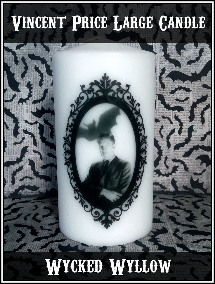 Vincent Price large pillar candle @ Wycked Wyllow