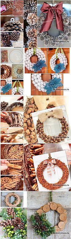 Новогодние венки из натуральных материалов своими руками