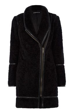 This on-trend coat is constructed from soft teddy style fabric and features leather look detailing, exposed asymmetric zip and two front patch pockets. Length of coat from shoulder seam to hem