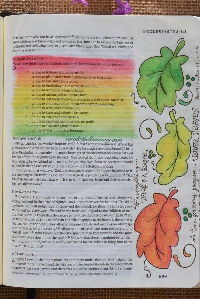 Ecclesiastes 3:1 November 5, 2015 carol@belleauway.com, colored pencil, bible art journaling, journaling bible, illustrated faith