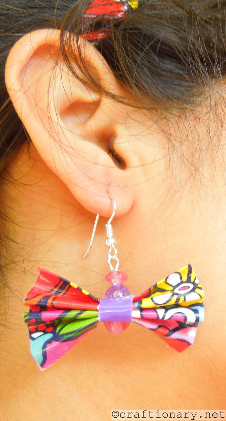 Cute bow earrings; and I think there made with duck tape?