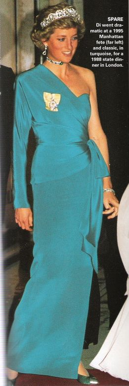 Diana Princess of WALES in this beautiful turquoise gown 1988