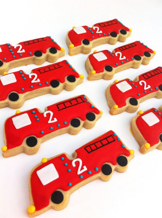 So Hot They're Cool Fire Truck Cookies 1 dozen by SunshineBakes