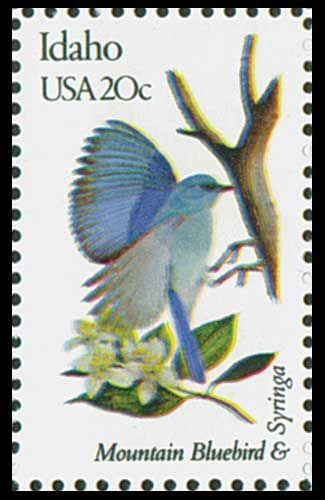1982 Idaho State Stamp - State Bird Mountain Bluebird - State  Flower Syringa