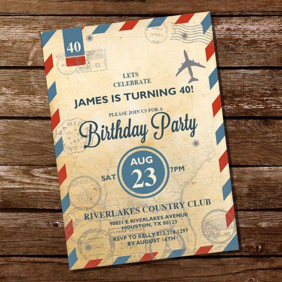 7 best invitations images on pinterest invitations birthdays and vintage travel invitation travel invite 30th 40th 50th 60th 70th birthday invitation instant filmwisefo
