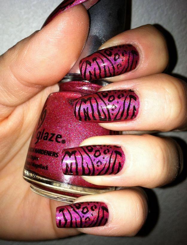 Розовый маникюр с тигровым принтом ::: onelady.ru ::: #nail #nails #nailart #manicure