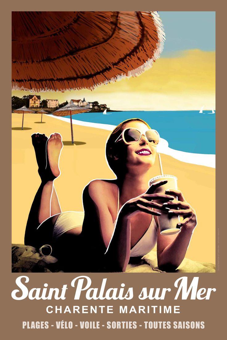 Affiche Saint Palais sur Mer en vente a l'office de tourisme  6€ - 20€ la collection de 4 affiches différentes au choix.