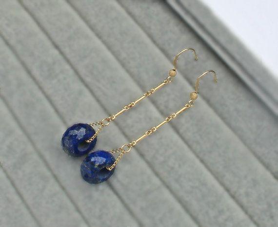 Lapis Lazuli 14K Gold Filled Earrings blue by SaruchiRJewellery