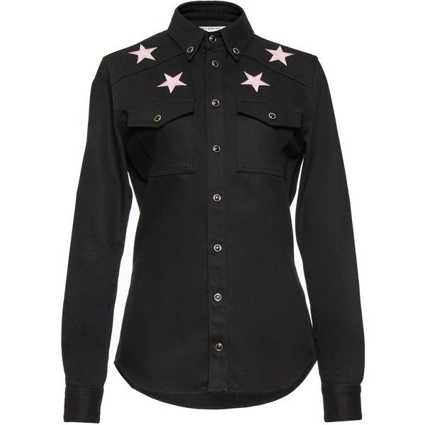 Givenchy Light Denim Shirt (1 701 440 LBP) ❤ liked on Polyvore featuring tops, black, button up shirts, slim fit denim shirt, button down top, denim top and slim button up shirts