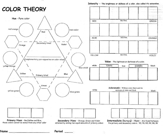Elements Of Art Value Worksheets | Elements and Principles of Art & Design Worksheets / color theory ...