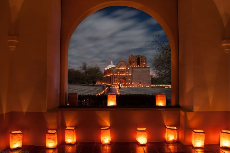 New Year Farolitos at Tumaccori, Arizona Photo by Galen Englund. Taken 12-24-12. Each year across the Southwestern United States farolitos are lit to celebrate the holiday season and the coming of the new year. Here, the candle-lit bags adorn the Tumacacori Mission in Southern Arizona. — National Geographic Your Shot