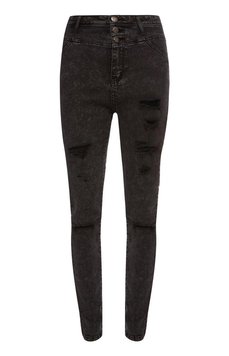Primark - Zwarte jeans met scheuren en 3 knopen