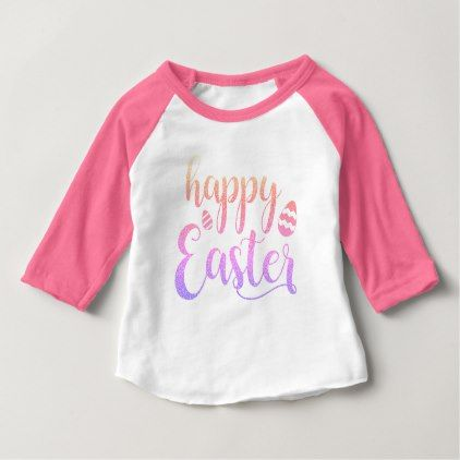 Happy Easter Multi-coloured Easter Egg Typography Baby T-Shirt - glitter gifts personalize gift ideas unique