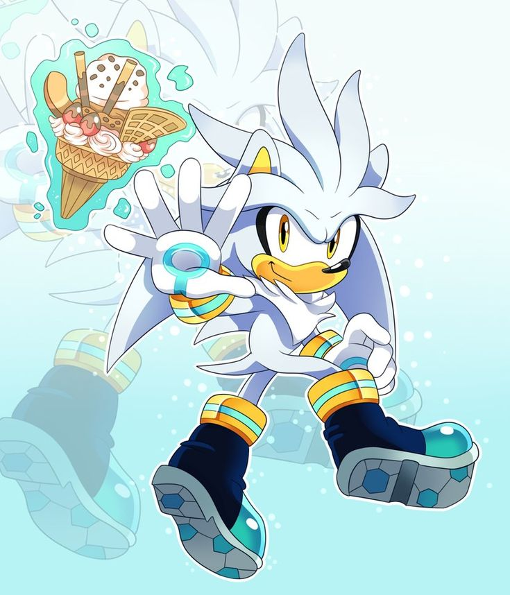 Just Silver The Hedgehog, with an icecream if you can recognise it, it's the one from Sonic Unleashed!  This was a prize for one of my pals on Sonic Amino who won one of our competitions