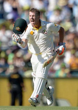 David Warner celebrates his hundred, Australia v England, 3rd Test, Perth, 3rd day, December 15, 2013