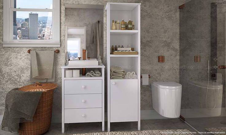 Banheiro decorado com armários modernos. Clique na imagem para saber mais.