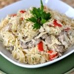 Creamy Orzo with Chicken, Mushrooms and Red Peppers.  A great meal when Fall is around the corner.