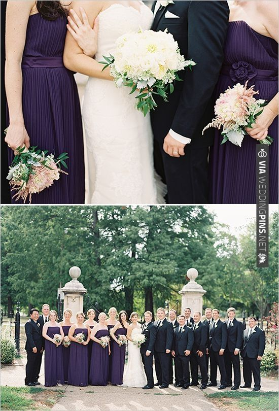 purple and black wedding party   CHECK OUT MORE IDEAS AT WEDDINGPINS.NET   #bridesmaids
