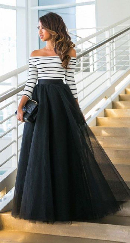 Tulle skirt outfits <3 / Tiulowe spódnice #tulle #skirt #outfit #romantic #cute #black #maxi #skirt #stripes
