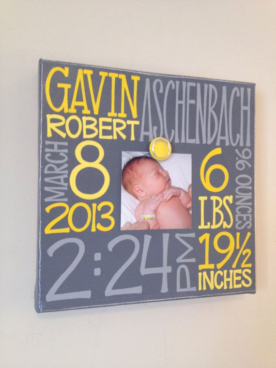 Baby birth information canvas frame 10x10 by NatalieKingArt