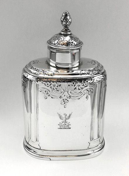 GEORGE II GEORGIAN SOLID SILVER TEA CADDY BOX LONDON 1756
