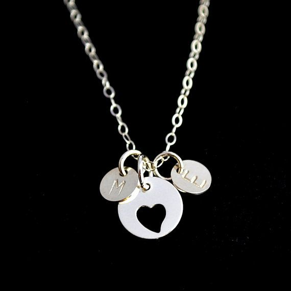 #Personalized Love #Necklace, Two Initial Disc Necklace, Double Initial Necklace, Silver Heart Necklace, Sister Necklace, Forever  * Sterling Silver Heart Disc 9mm * Sterling... #personalized #jewelry #necklace
