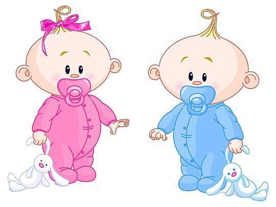 Dibujos. Clipart. Digi stamps - Baby Girl and Baby Boy