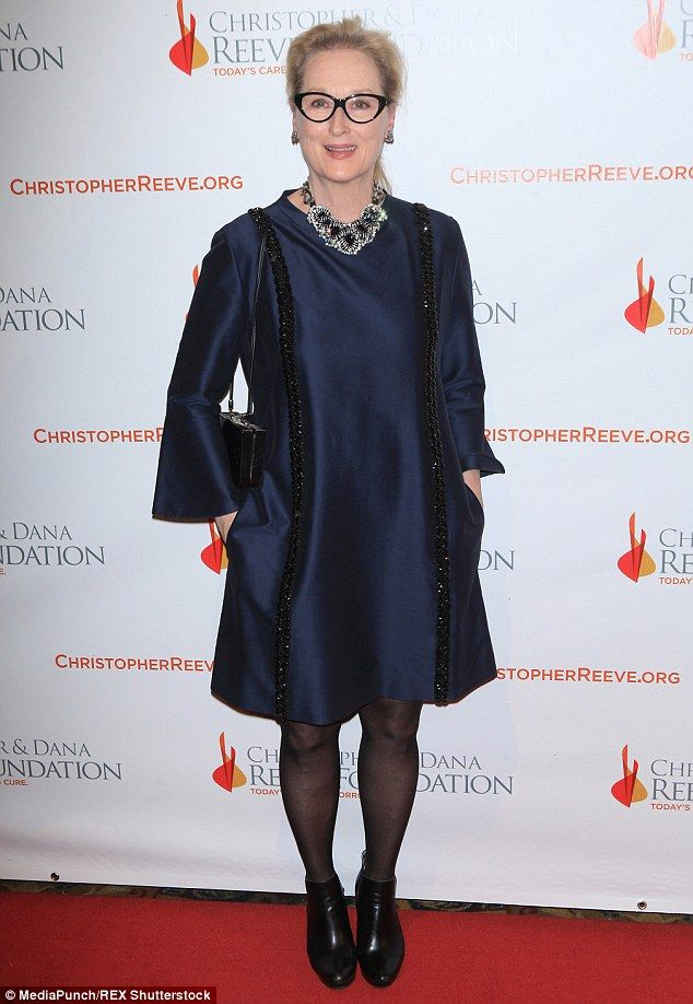 Black and blue: Meryl Streep celebrated the 25th anniversary of the Christopher & Dana Reeve Foundation at its Magical Evening Gala held at  New York's upscale eatery Cipriani Wall Street on Thursday evening
