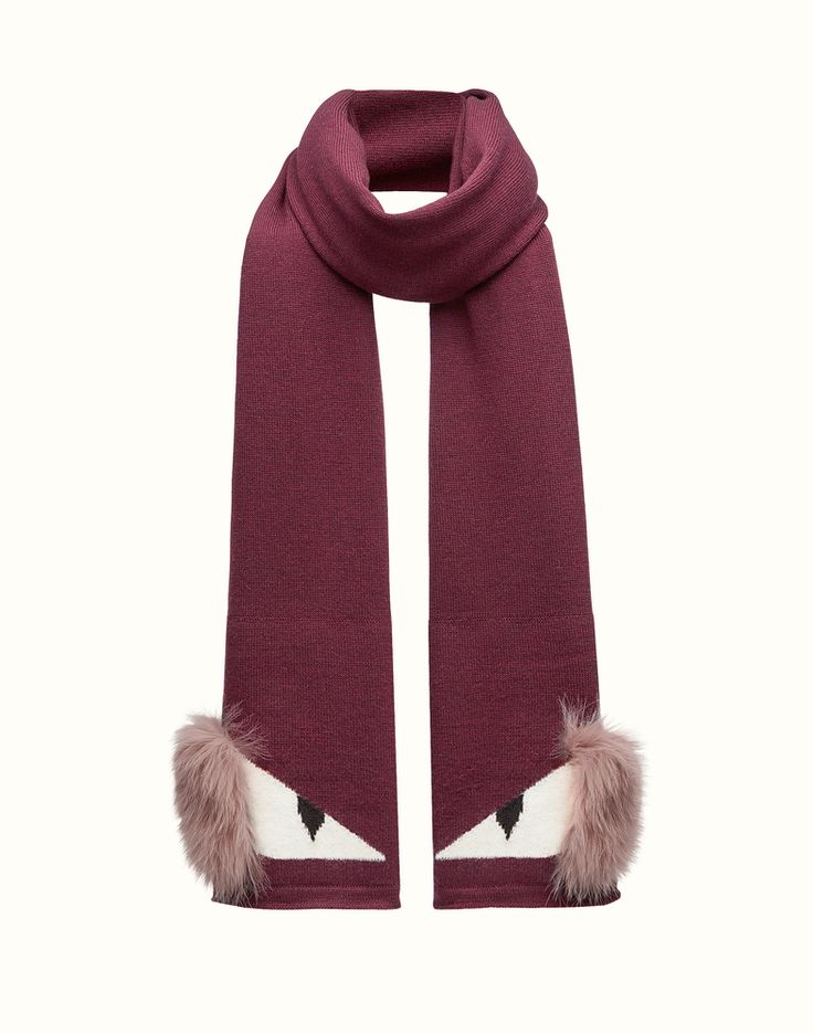 FENDI SCARF - in red wool and fur