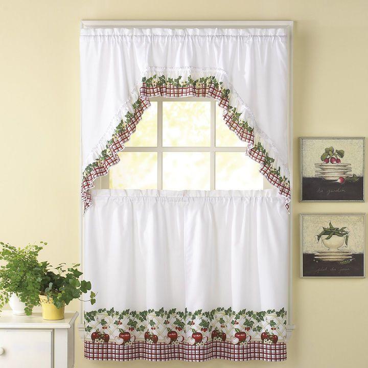 CHF Apple Blossom 3-pc. Rod-Pocket Kitchen Curtain Set