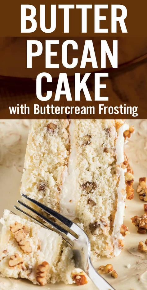 Butter Pecan Cake with Buttercream is an easy to make homemade fall-themed layered cake. Classic moist white cake with butter toasted pecans and rich buttercream frosting. Made with common baking pantry ingredients | Posted By: DebbieNet.com