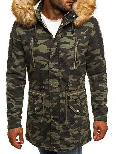 #OZONEE Herren Winterjacke Parka Jacke Kapuzenjacke Wärmejacke Wintermantel Coat X-FEEL 88621 Camo M,