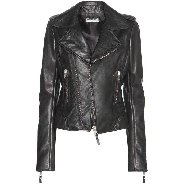 Balenciaga Leather Biker Jacket ($2,745) ❤ liked on Polyvore featuring outerwear, jackets, motorcycle jacket, leather biker jacket, genuine leather jackets, balenciaga and biker jacket