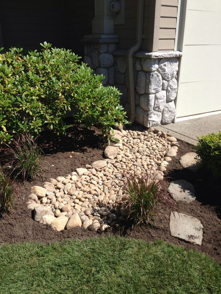 Ditch the ugly concrete downspout trough and add a flowing for Decorative river rocks landscaping
